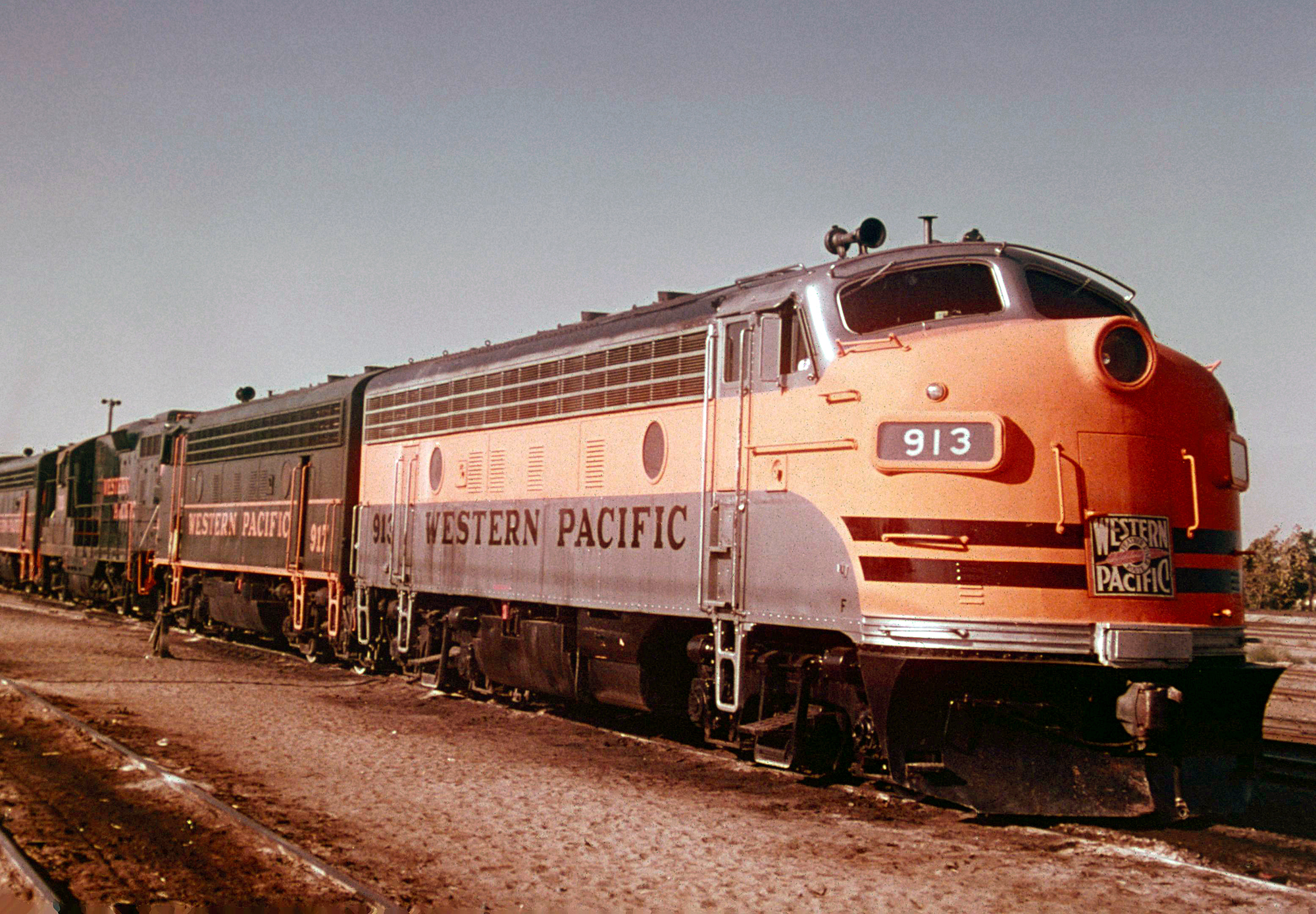 Western Pacific F7A #913 and F7B #917, along with other first-generation EMD power, lays over in Stockton, California on July 23, 1978.  John Benson photo.  Author's collection.