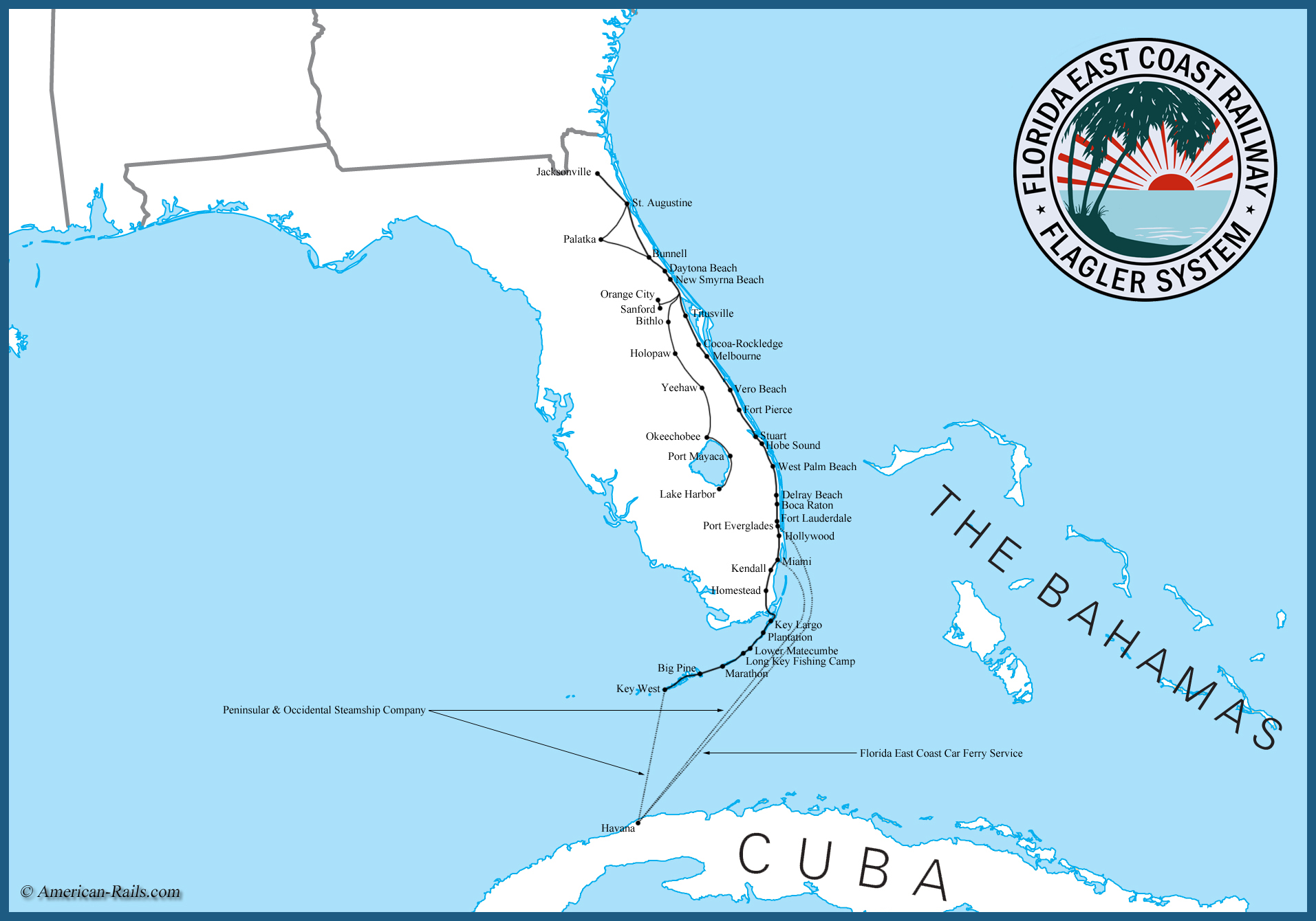 Image of: Florida East Coast Railway Map History Logo Photos