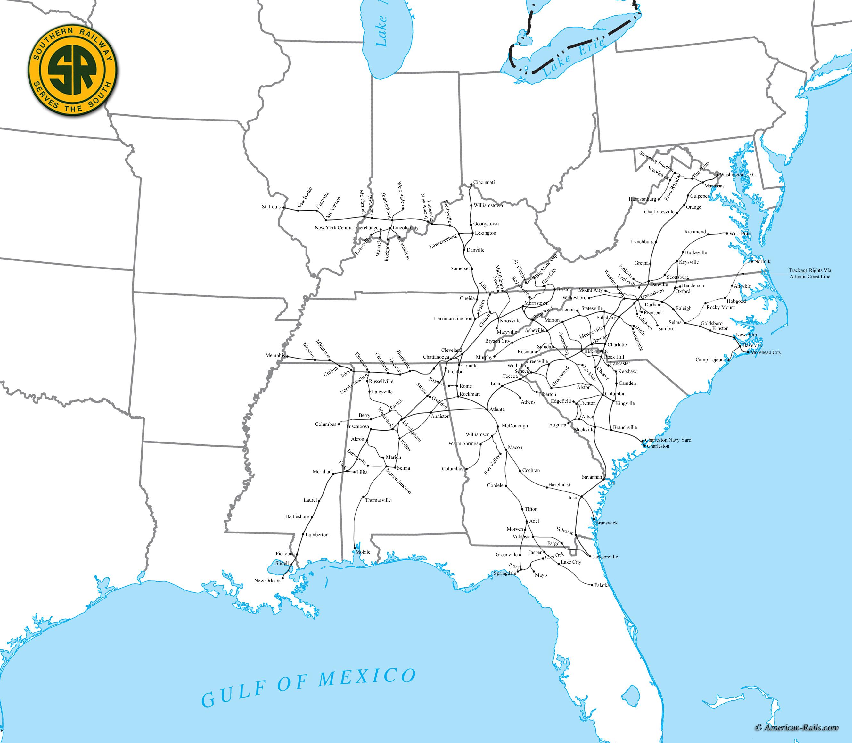 Railroad Map Of Georgia.Southern Railway