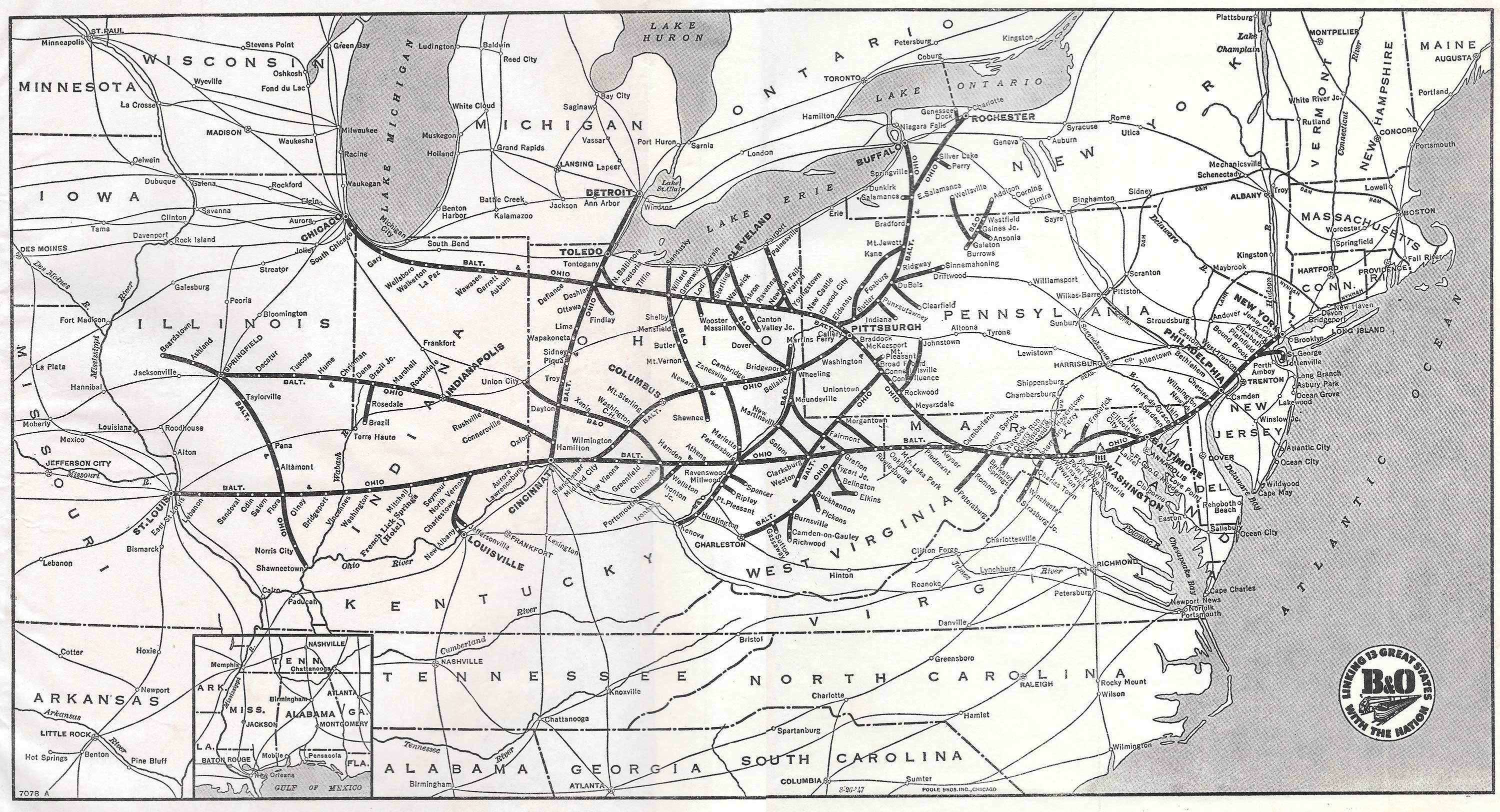 The Baltimore And Ohio Railroad - Us railway system map