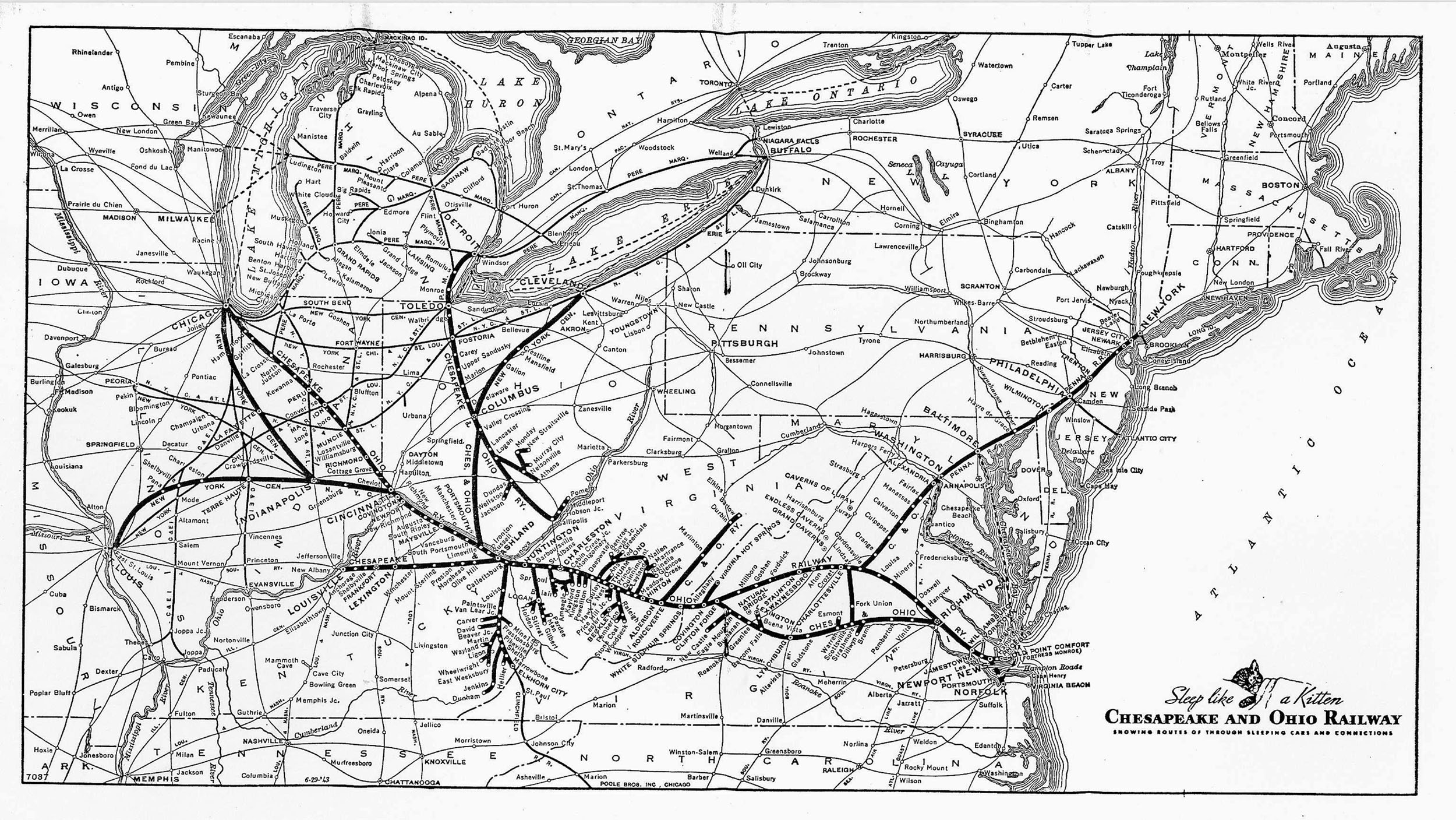 The Chesapeake And Ohio Railway - Railroad map us 1880