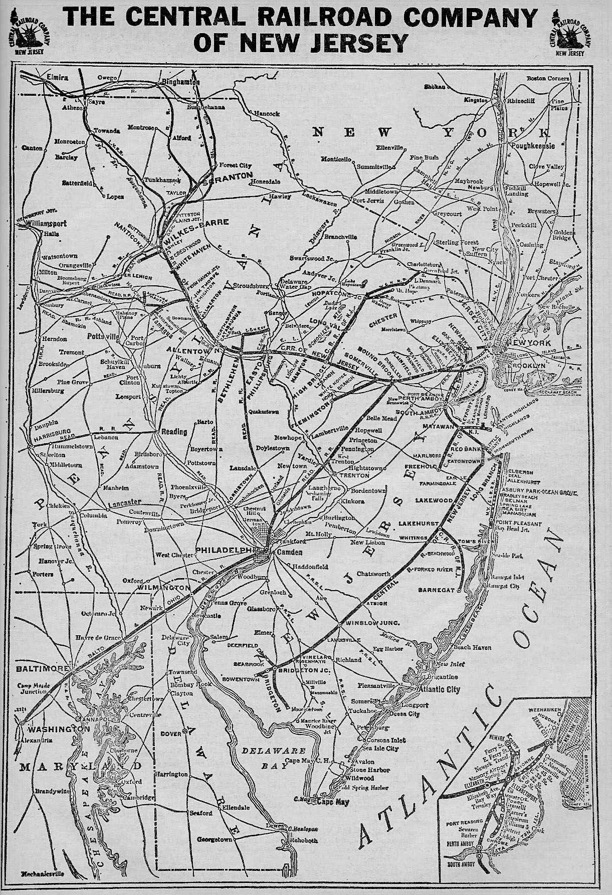 The Central Railroad Of New Jersey - Us railroad traffic map