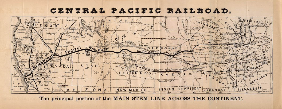 Map Of Central Pacific Railroad Central Pacific Railroad