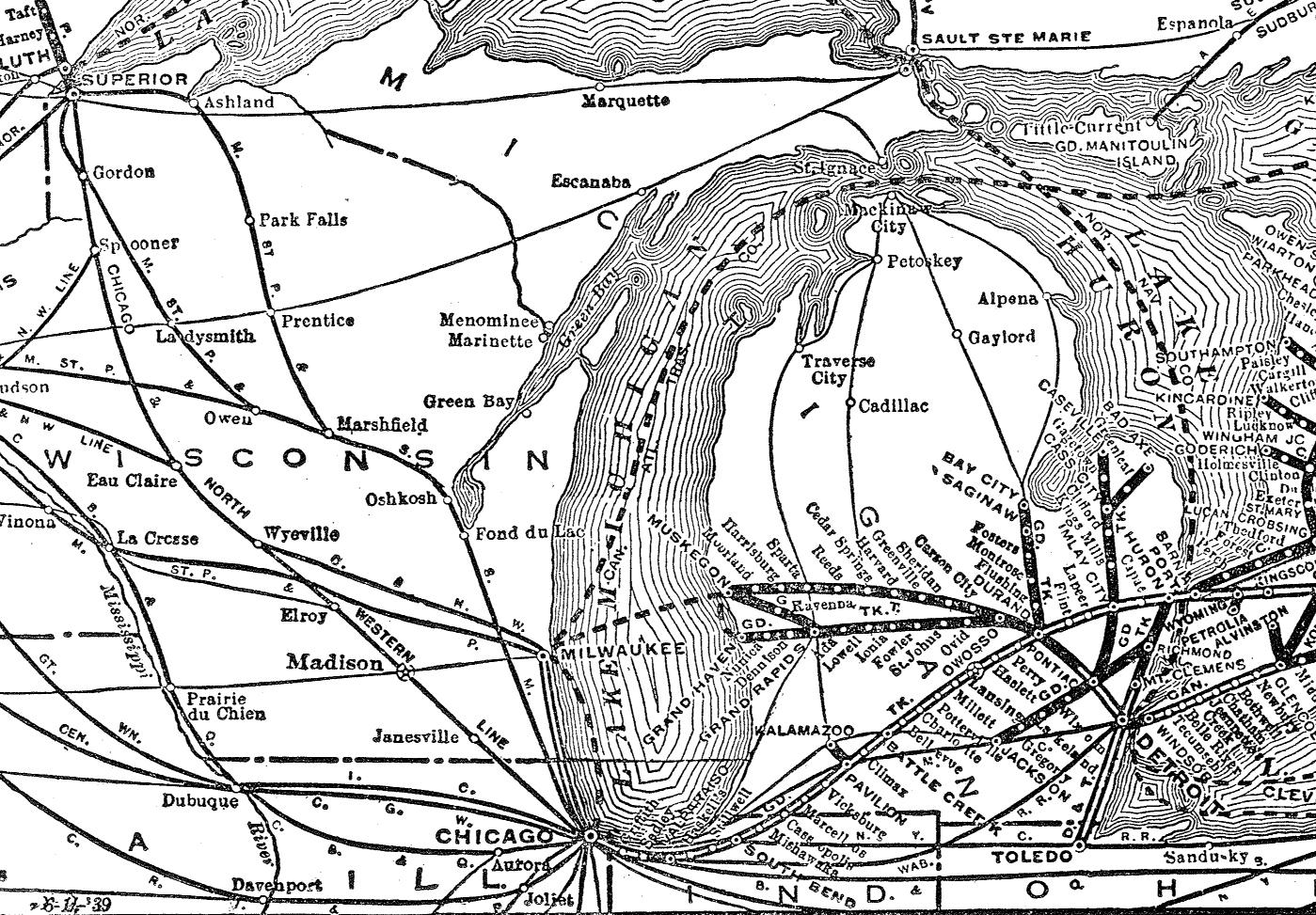 The Grand Trunk Western Railroad Cn Rail Map Us