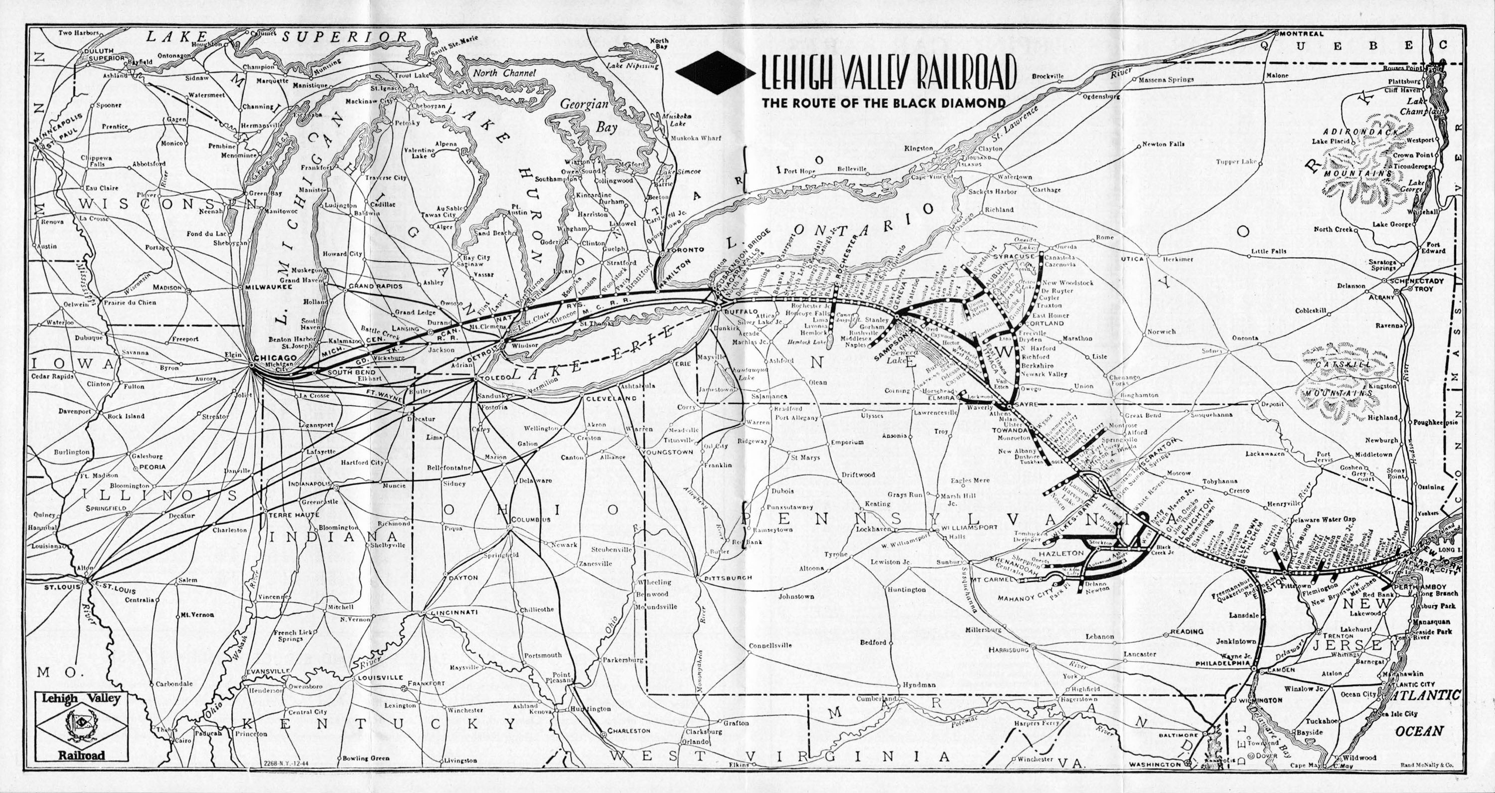 The Lehigh Valley Railroad - Us railroad traffic map