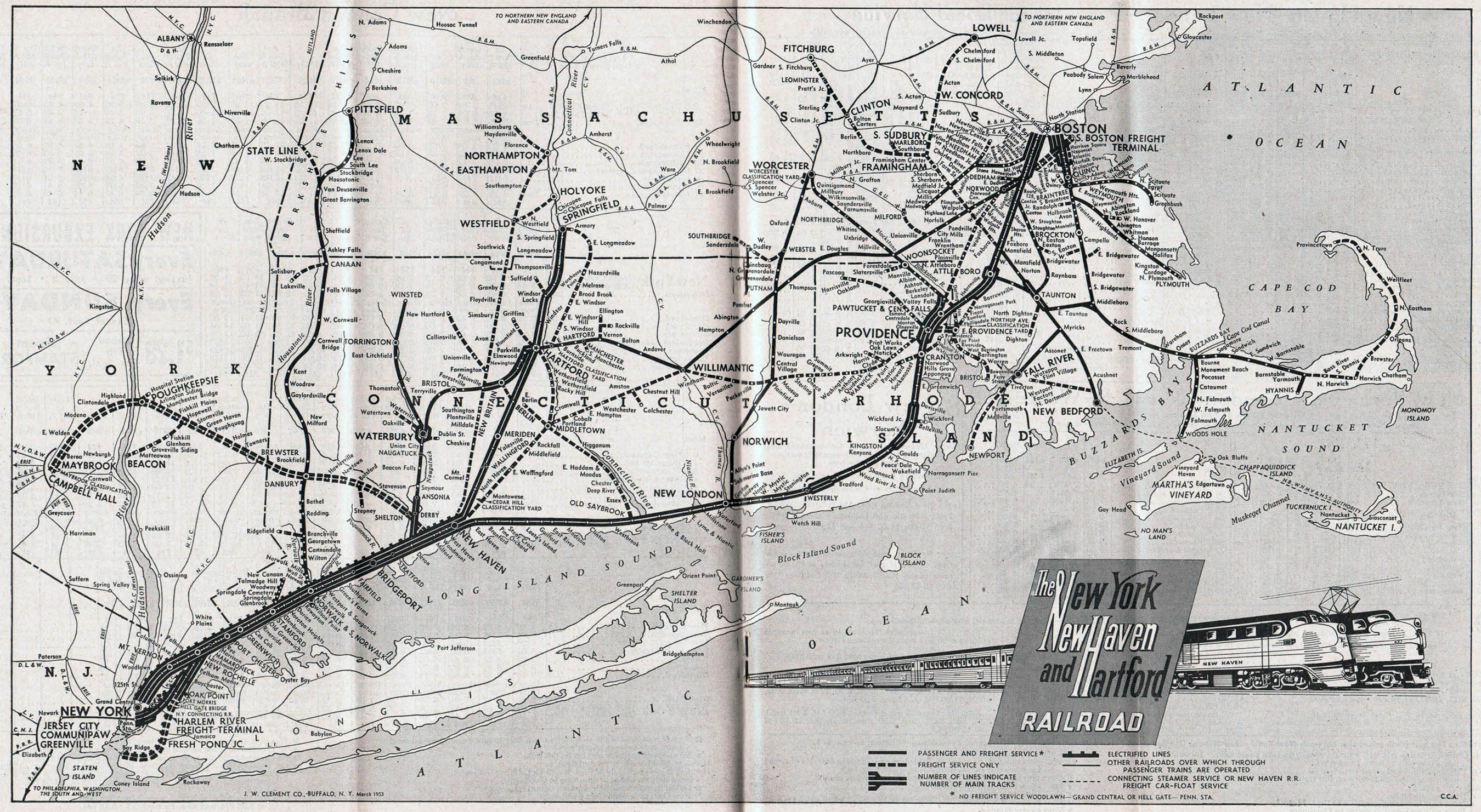 The New Haven Railroad - New york city map 1950