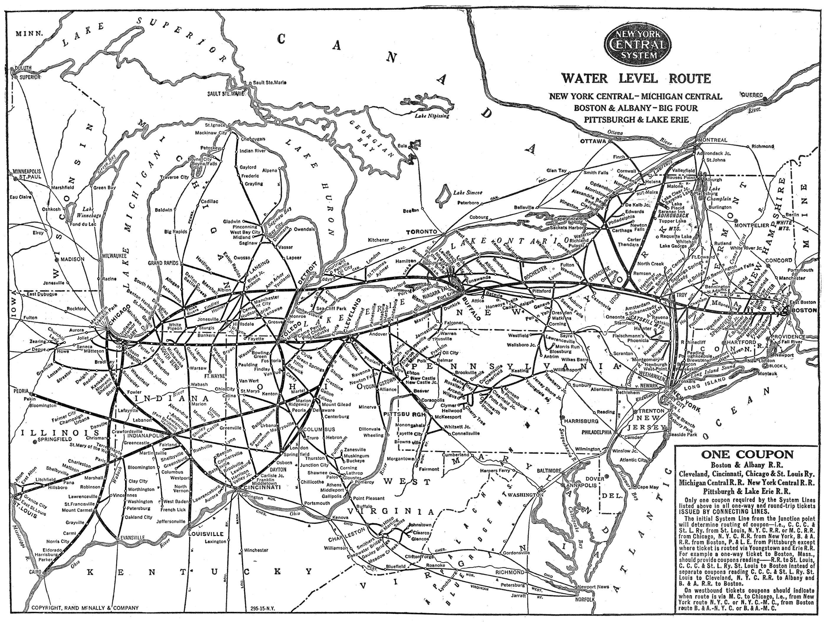 The New York Central System - New york to boston rail on map of us