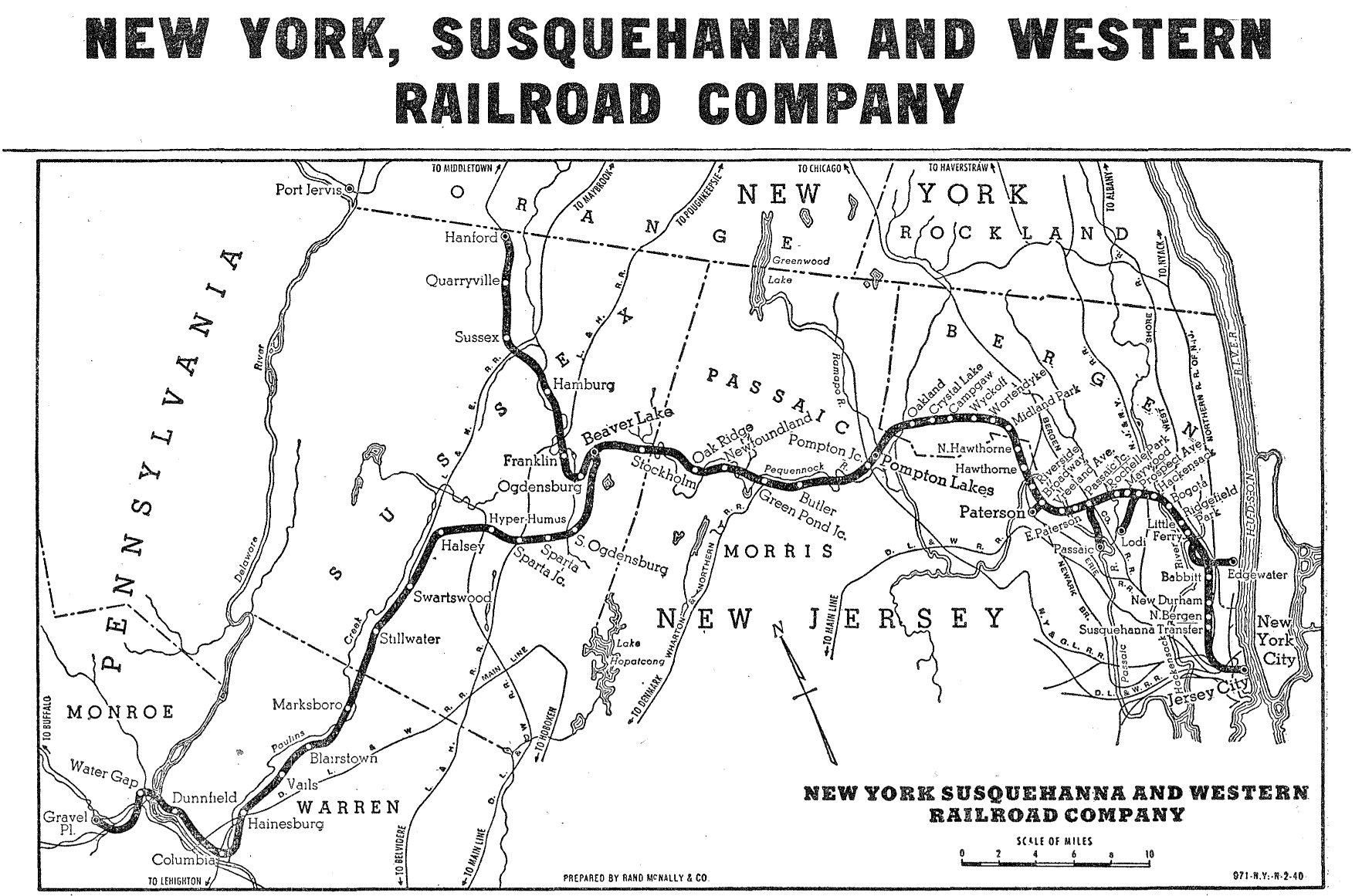Map Of New York Rail System.New York Susquehanna And Western Railway