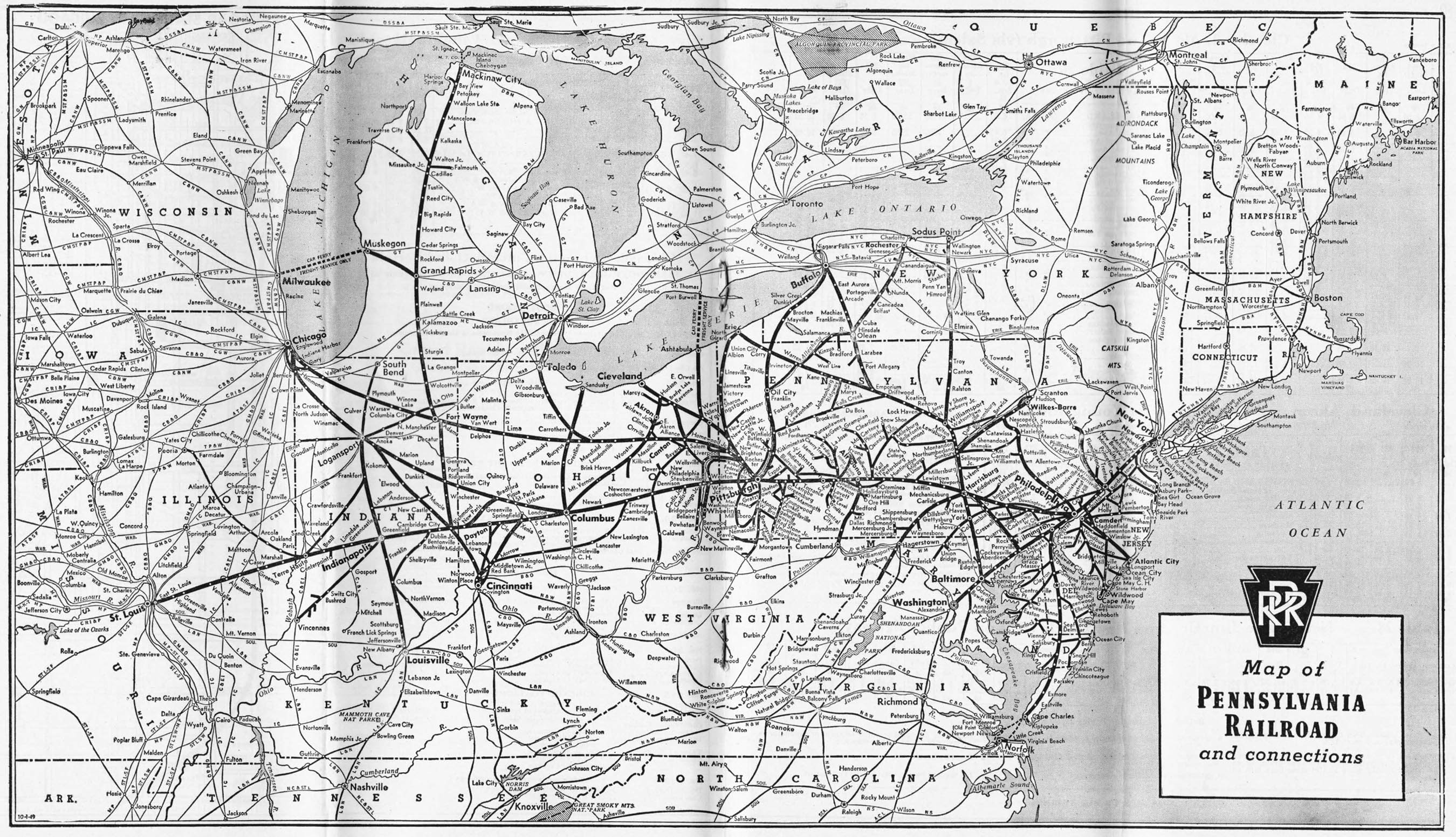 The Pennsylvania Railroad - Us railroad traffic map