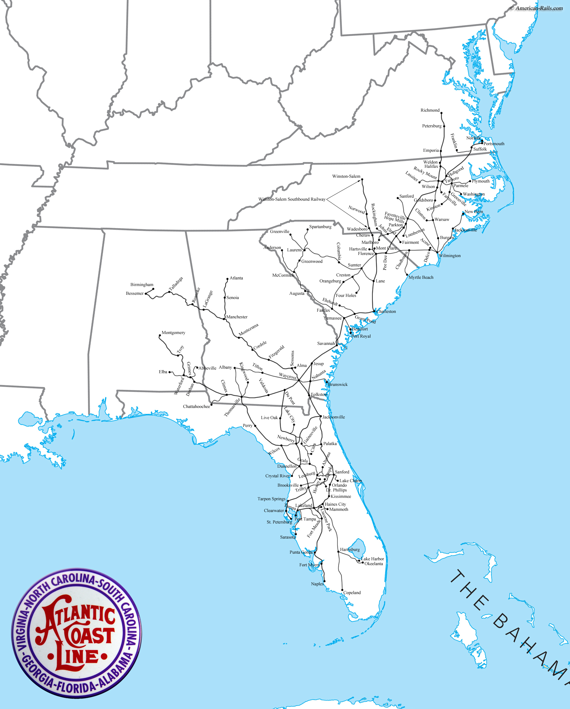 The Atlantic Coast Line Railroad - Us passenger train map