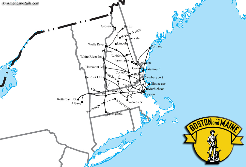The Boston And Maine Railroad - New york to boston rail on map of us