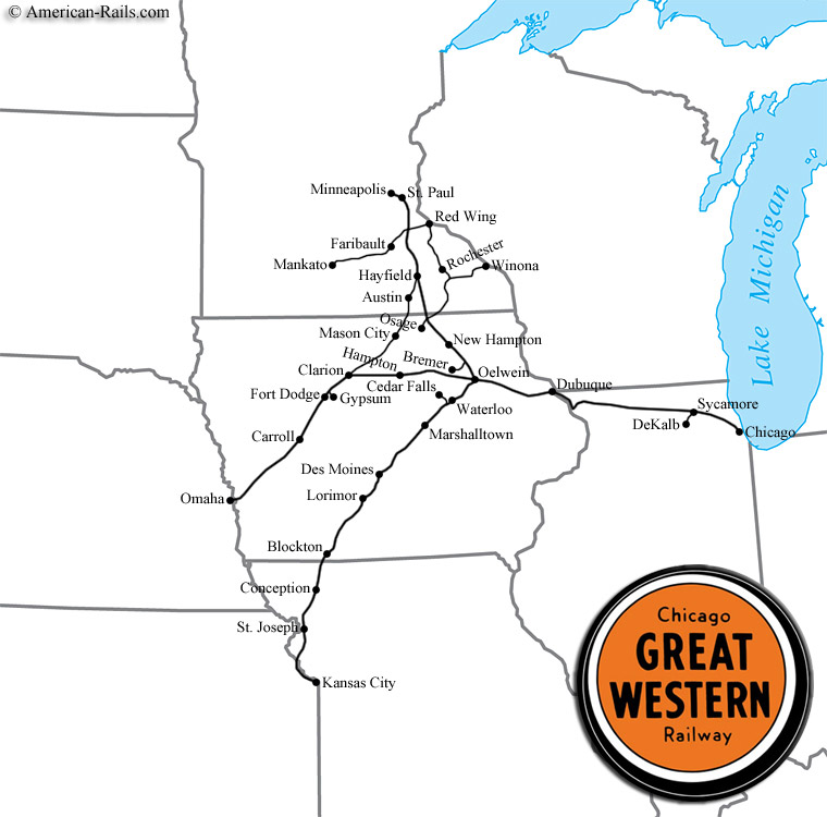 The Chicago Great Western Railway - Western us railroad map