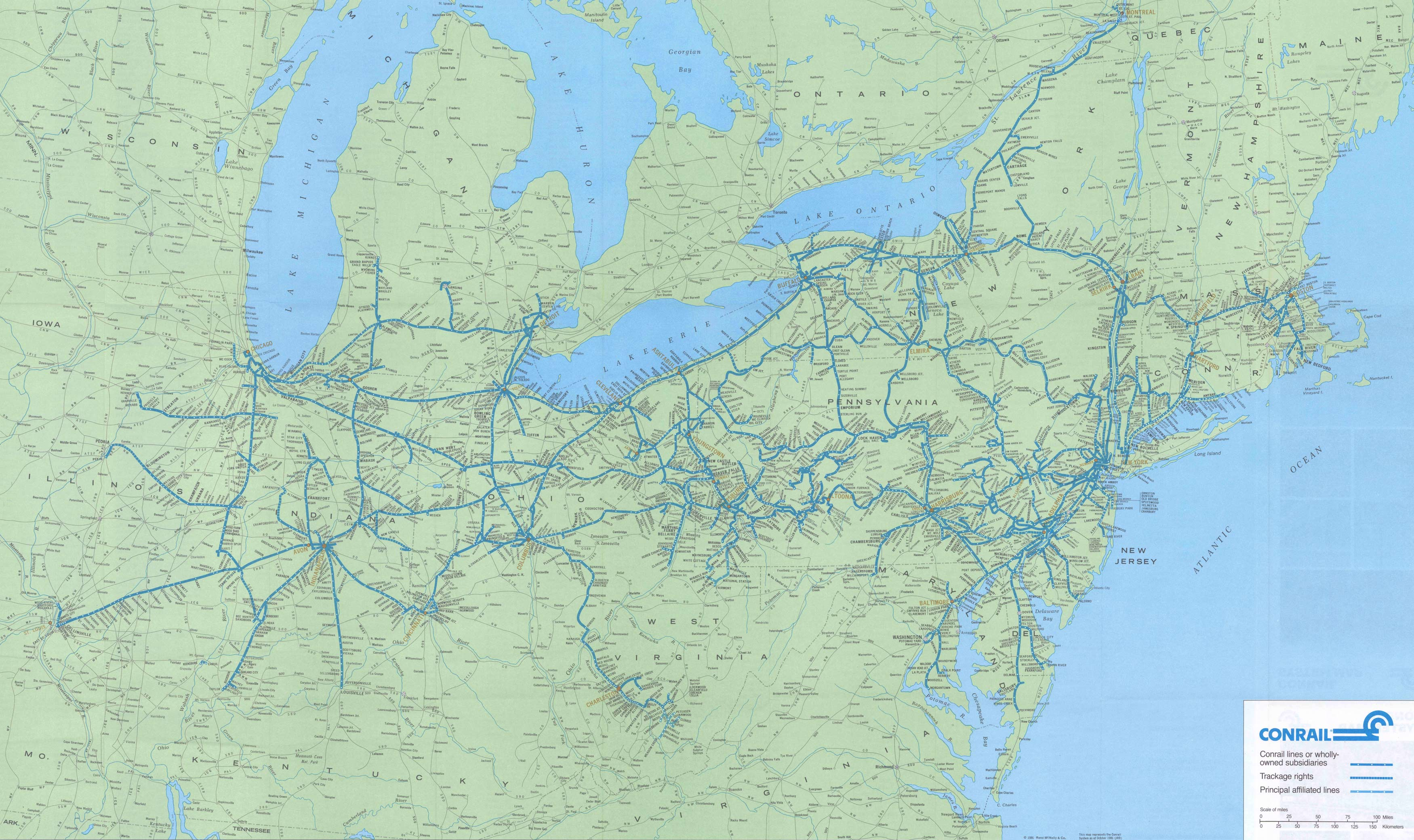 Conrail The Consolidated Rail Corporation - Norfolk southern system map
