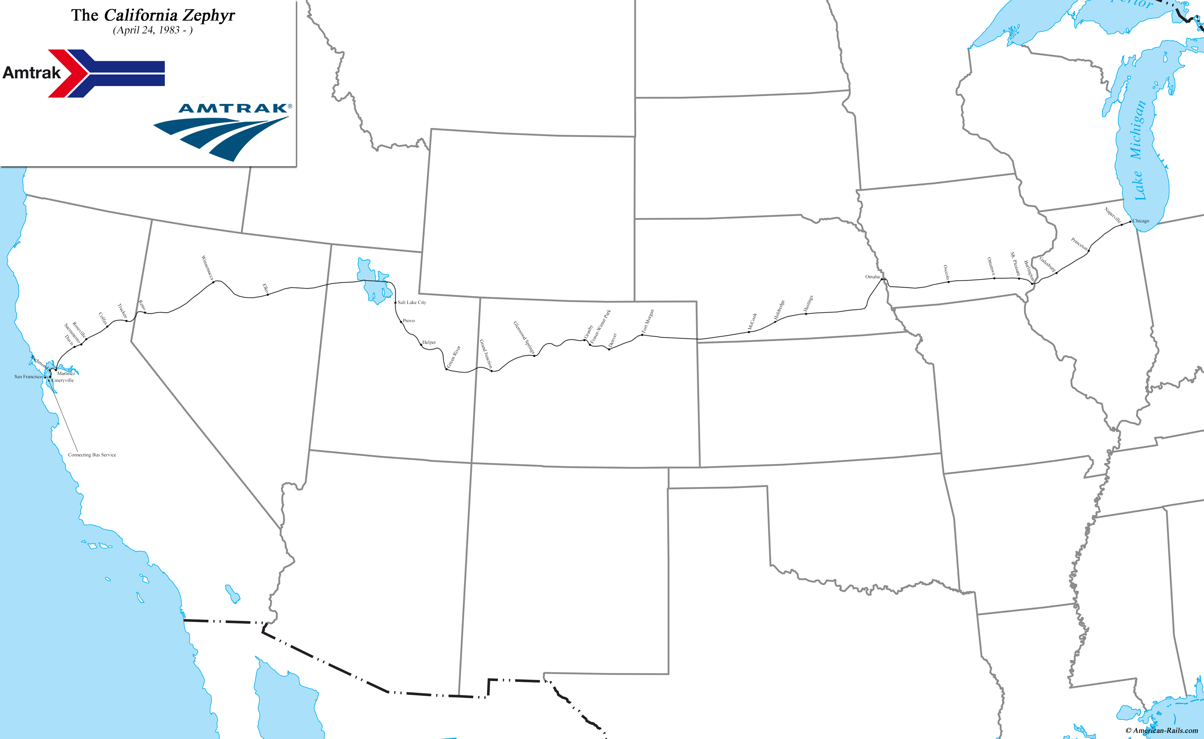 Map Of California Zephyr Route.California Zephyr