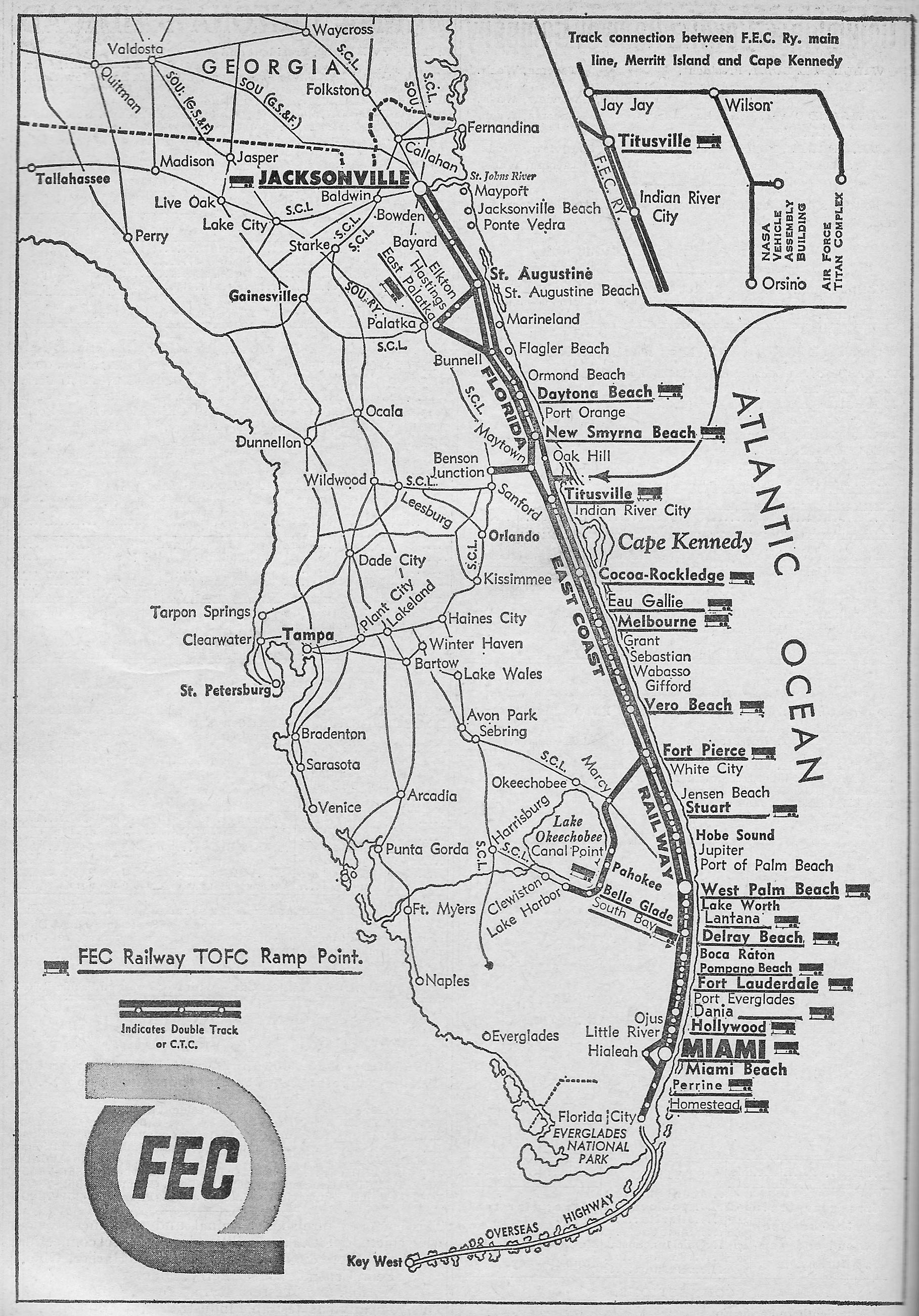 Florida east coast railway for Map of east coast of florida