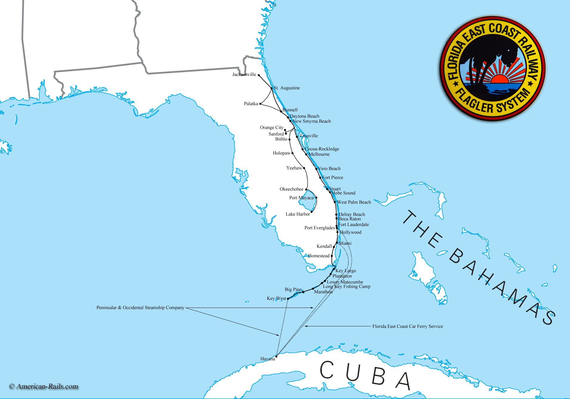 The Florida East Coast Railway - Southeast us rail map