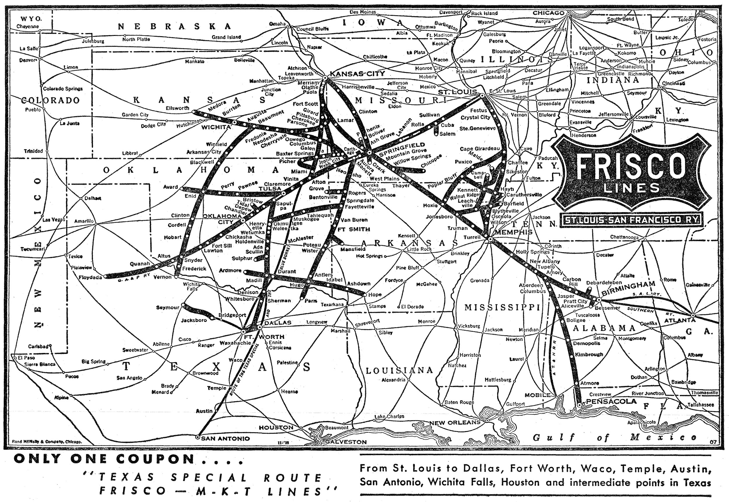 The Frisco The St LouisSan Francisco Railway - Map of us railroads in 1900