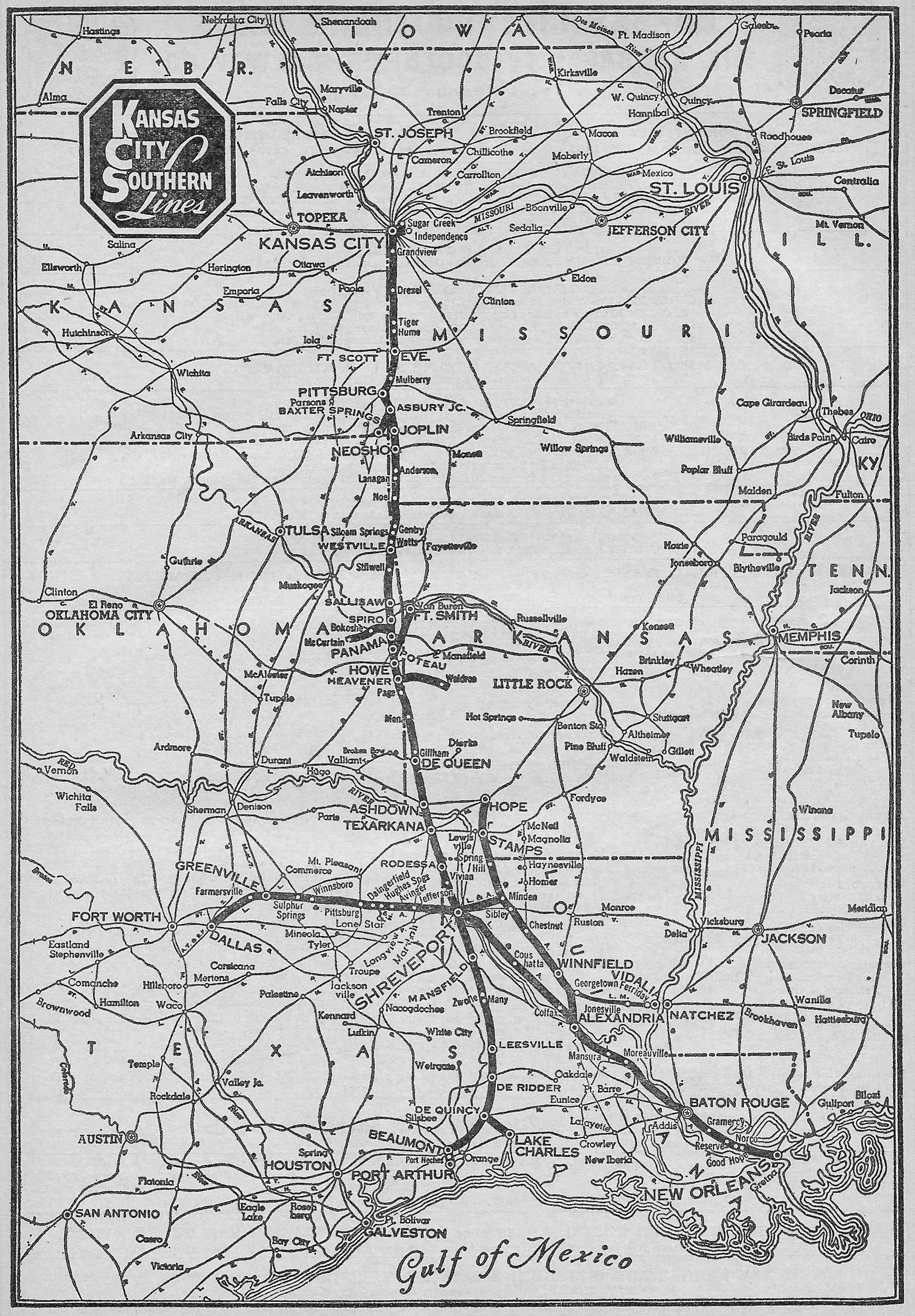The Kansas City Southern Railway - 1889 us railroad map