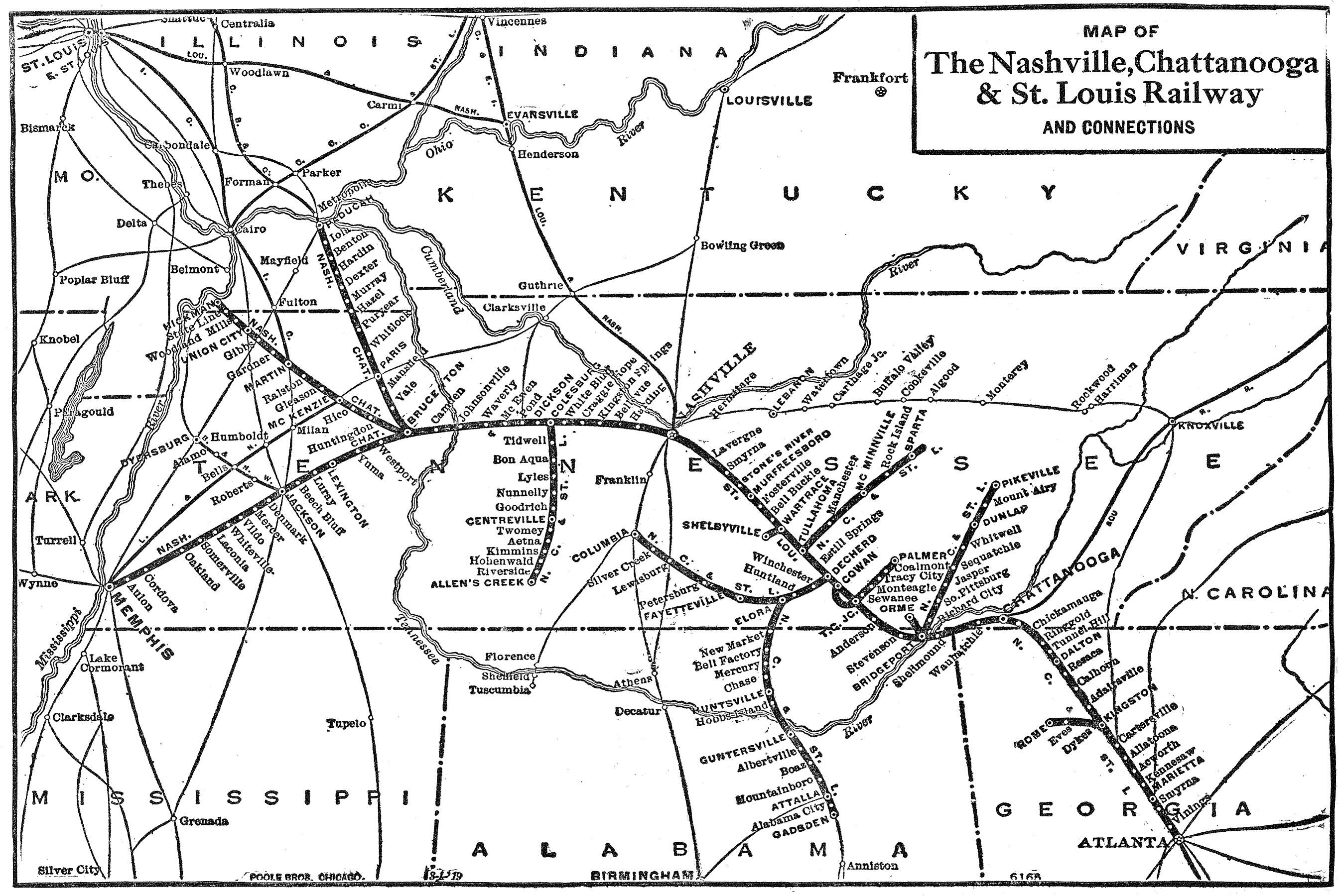 The Nashville Chattanooga And St Louis Railway - Atlanta to nashville rail on map of us
