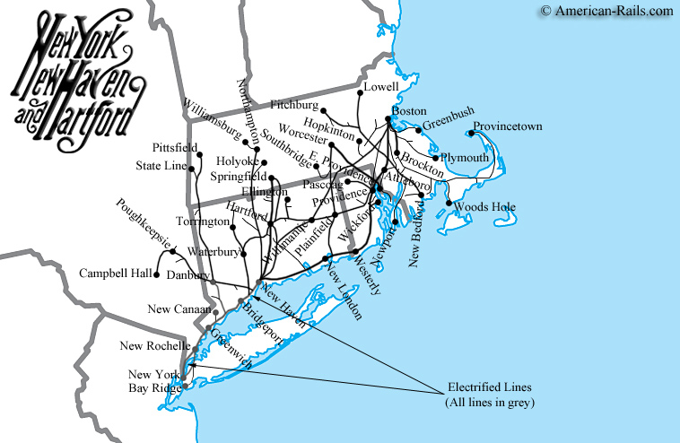 The New Haven Railroad - New york to boston rail on map of us