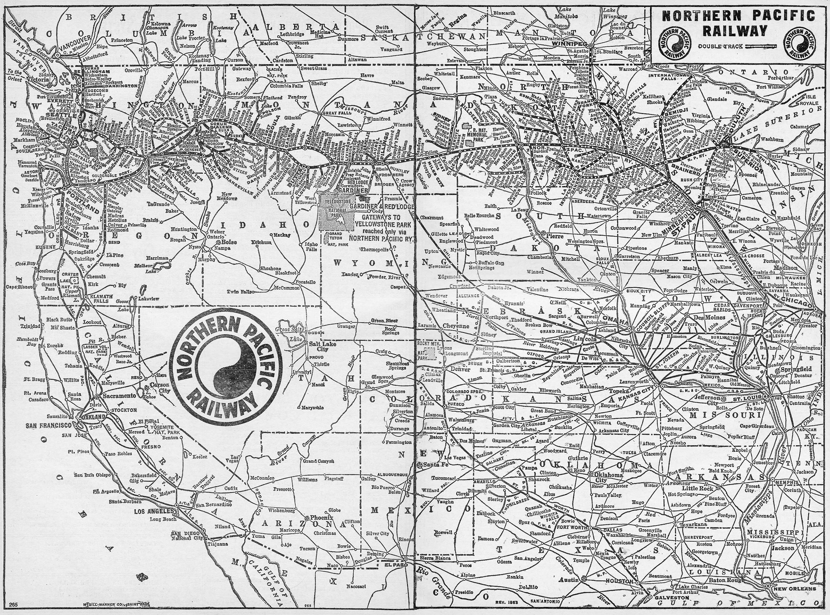The Northern Pacific Railway - Us transcontinental railroad map