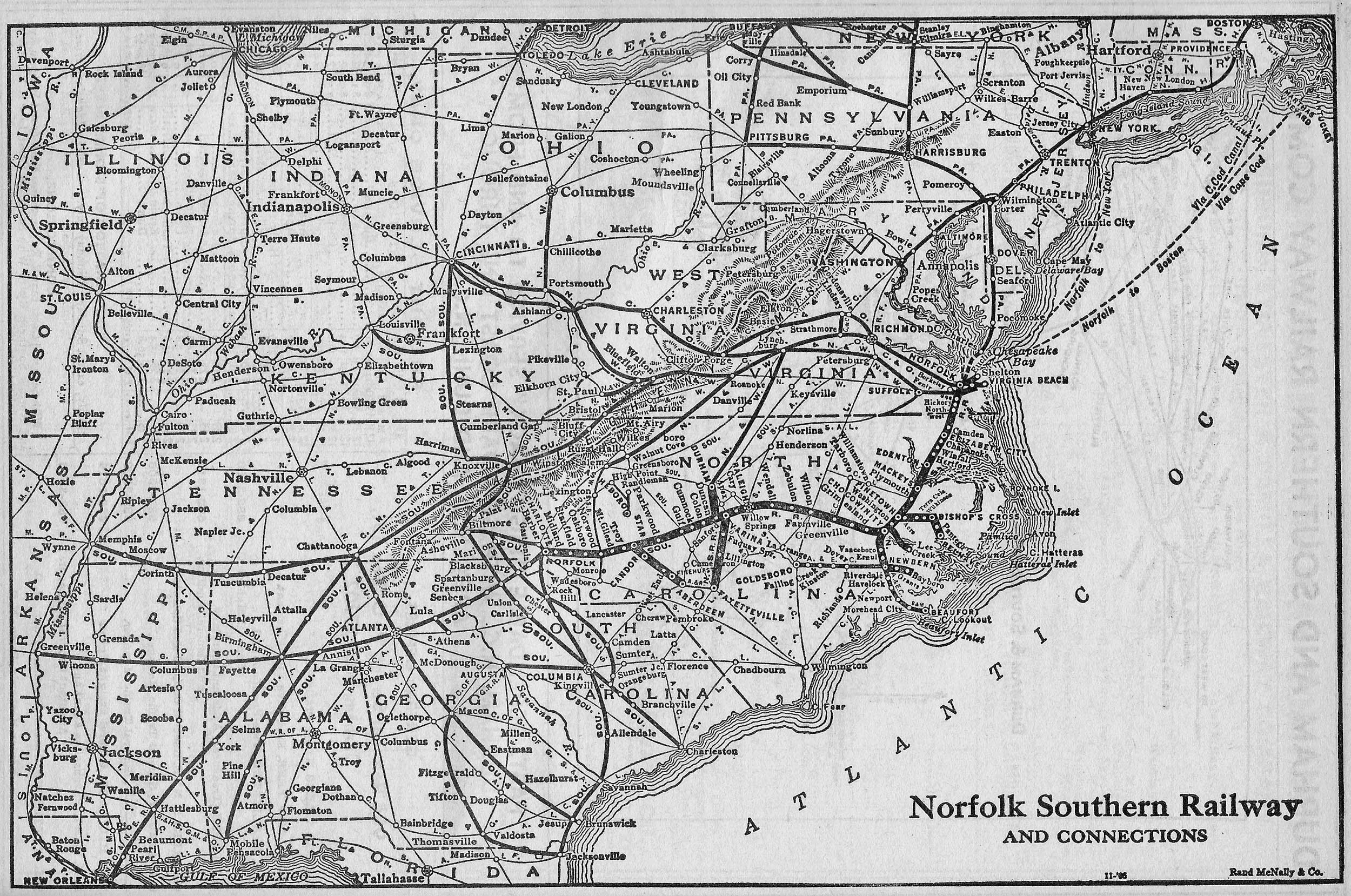 The Original Norfolk Southern Railway - Southern railway us map
