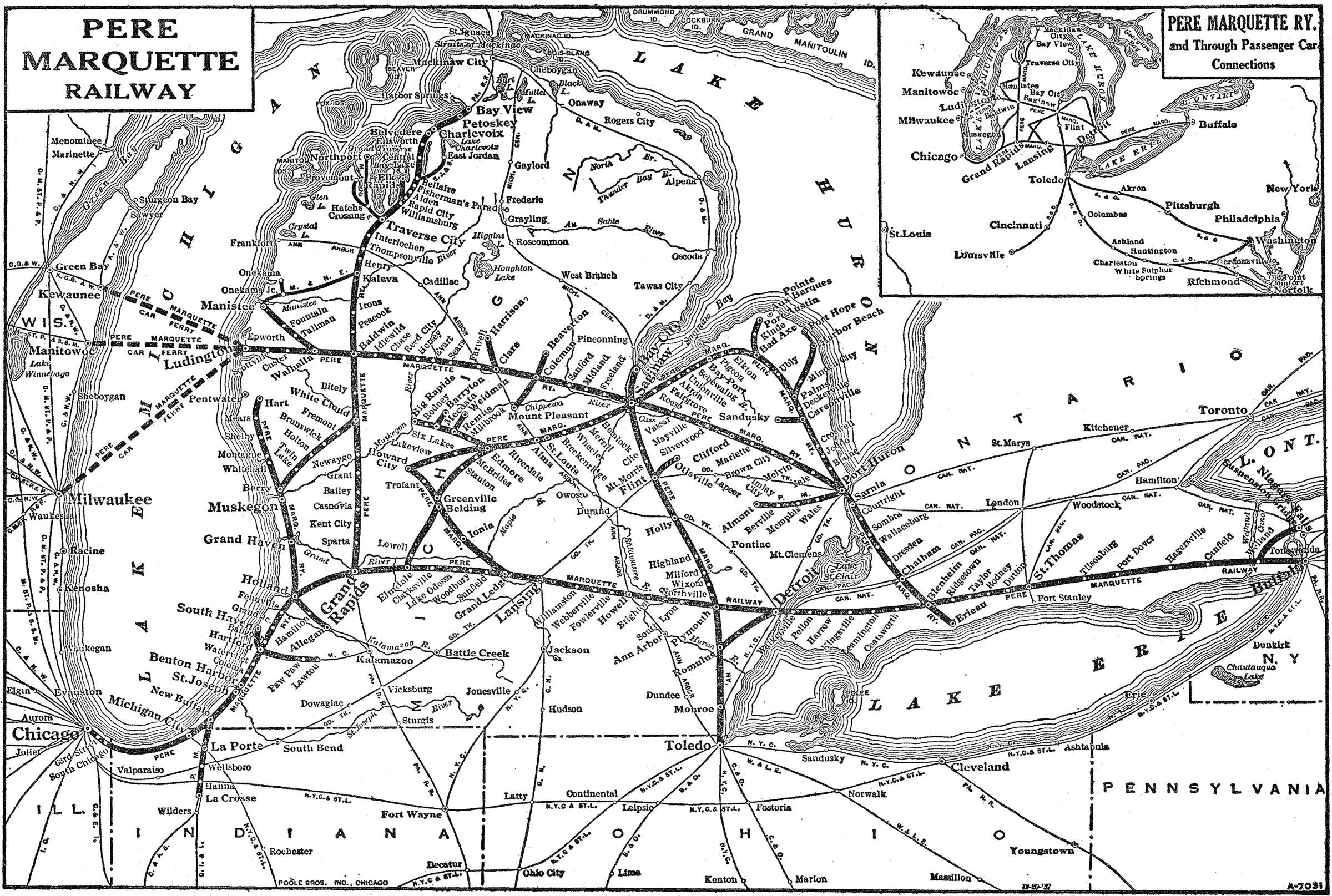 The Pere Marquette Railway - Map of us railroads in 1900