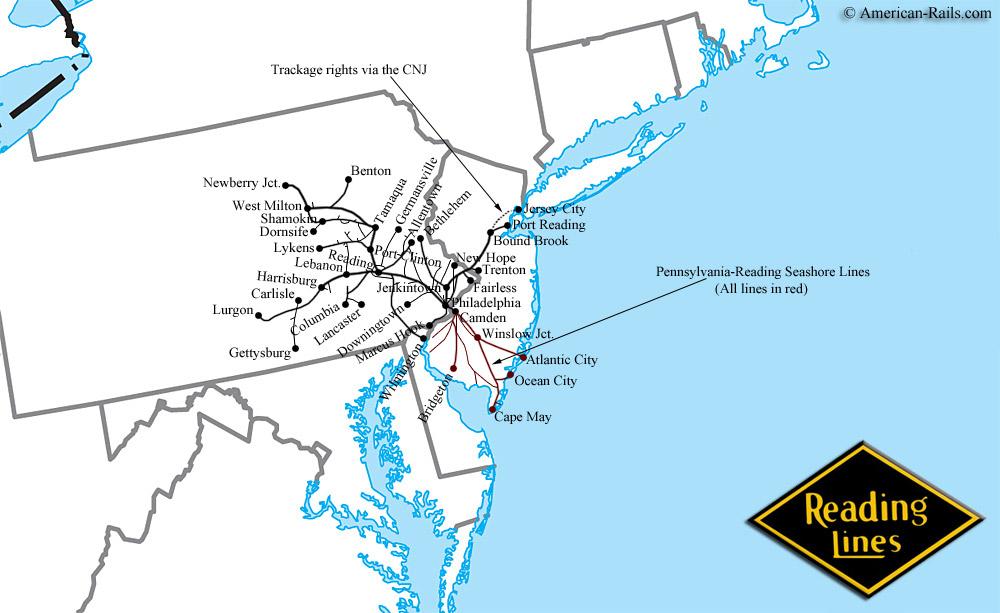 The Reading Railroad - Us commuter rail map