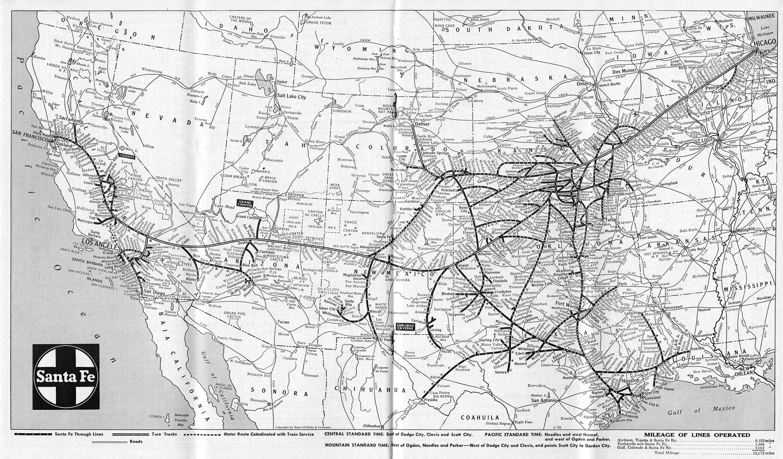 The Atchison Topeka And Santa Fe Railway - Atchinson topeka and santa ferailroad on the us map
