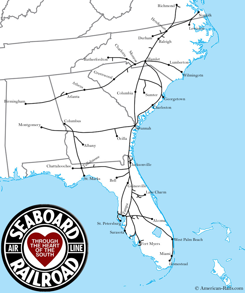 The Southern Railway Atlanta To Charleston Rail On Map Of Us It - Map of the railroad system in the us