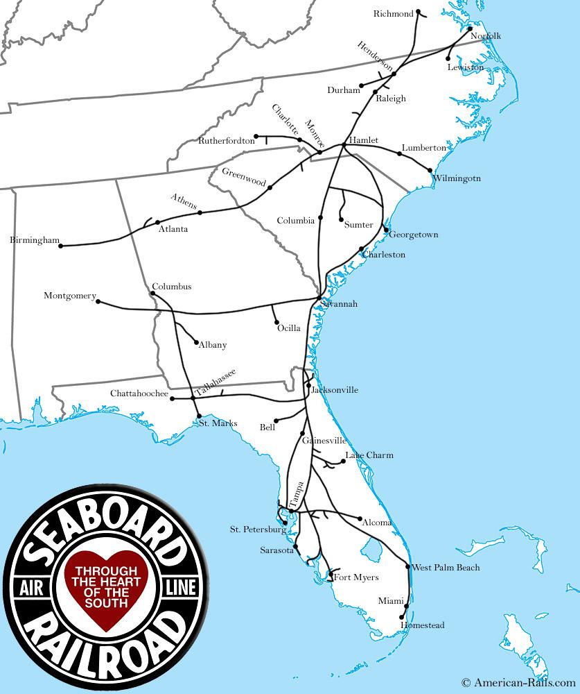 Wwwamericanrailscom Images Seaboardairlinerailroadmapjpg - Atlanta to montgomery rail on map of us