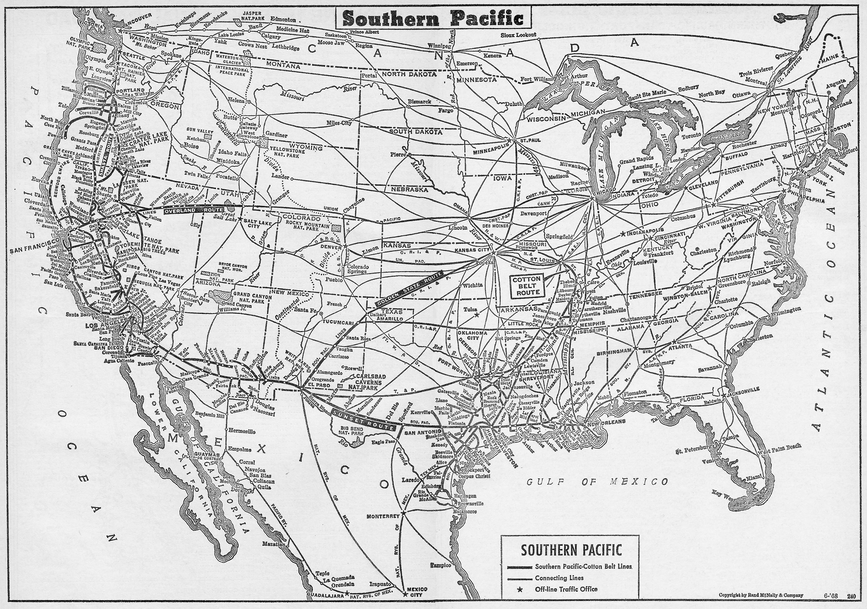 The Southern Pacific - Southern railway us map