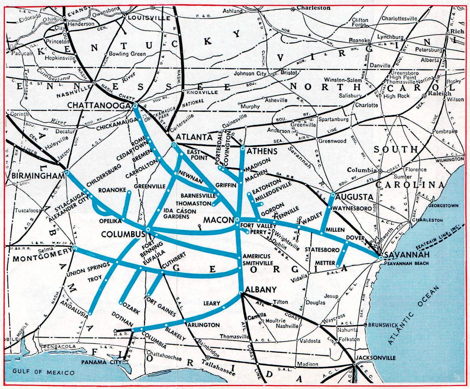 Railroad Map Of Georgia.Central Of Georgia Railway